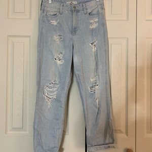 Ripped Straight Leg Mom Jeans